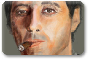 Illustration 4 Scarface Tony Montana Al Pacino cuban cigar